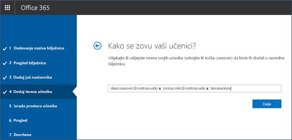 Snimka zaslona s prikazom načina dodavanja imena učenika ili studenata u alat za stvaranje bilježnica.