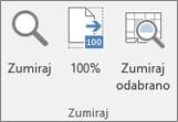 Zumiranje grupe na vrpci programa Excel