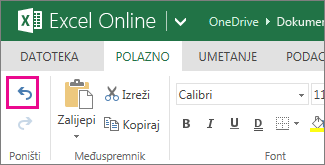 Gumb Poništi na kartici Polazno
