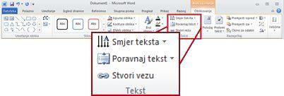 kartica oblikovanje u odjeljku alati za crtanje na vrpci programa word 2010