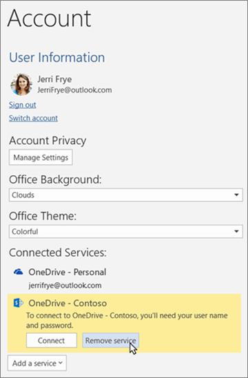 """Okno računa u aplikacijama sustava Office, s istaknutom mogućnošću """"Ukloni servis"""" u odjeljku povezani servisi"""