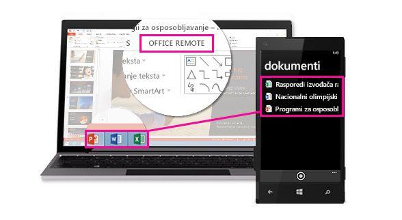 Mobitel s prikazanim otvorenim datotekama na radnoj površini