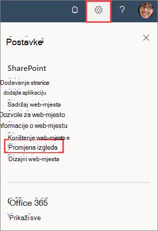 Slika okna postavke web-mjesta