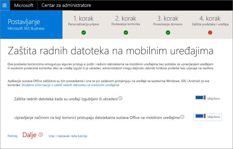 Snimka zaslona stranice sa zaštitom poslovnih datoteka na mobilnim uređajima