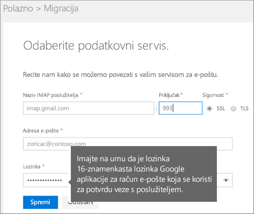 Da biste se povezali, unesite podatke IMAP poslužitelja i računa