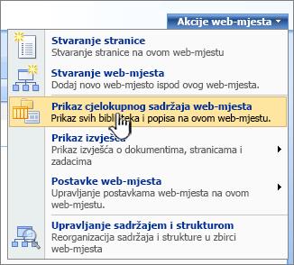 Izbornik Akcije web-mjesta s prikaz svih sadržaja web-mjesta istaknuta