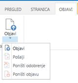 Snimka zaslona s karticom Objavljivanje koja sadrži gumbe za objavljivanje, poništavanje objavljivanja te slanje stranice za objavljivanje na odobrenje