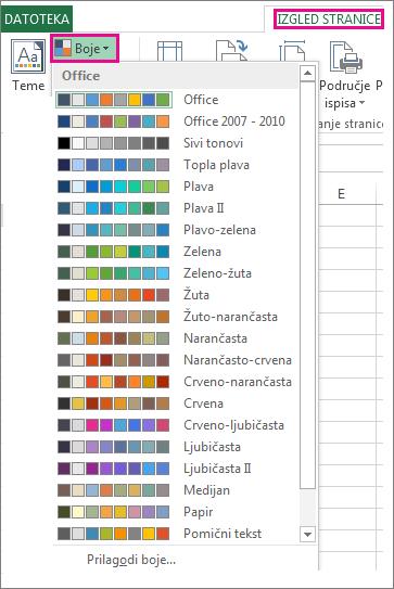 Galerija boja tema otvorena putem gumba Boje na kartici Izgled stranice