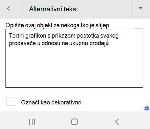 Dijaloški okvir zamjenski tekst u programu Excel za Android.