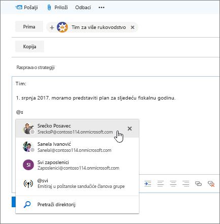 Snimka zaslona s prikazom novog dijaloškog okvira e-pošte u programu Outlook i @spominjanja u tekstu poruke.