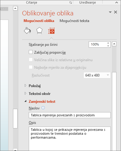 Snimka zaslona okna Oblikovanje oblika s okvirima zamjenskog teksta koji opisuje odabranu tablicu