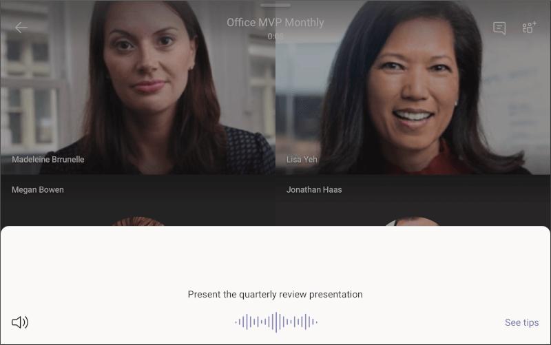 Microsoft Teams prikaz – zaslon prezentacije na palubi
