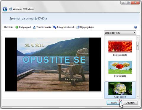 Snimanje prezentacije na disk