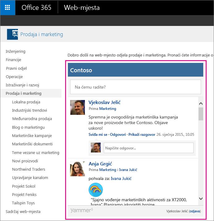 Sažetak sadržaja grupe servisa Yammer ugrađen u stranicu sustava SharePoint