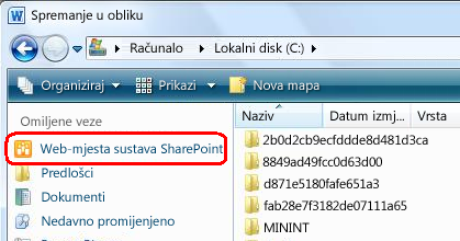 Veza na web-mjesta sustava SharePoint u dijaloškom okviru Spremanje u obliku