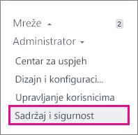 Snimka zaslona izbornika administrator servisa Yammer - mrežne migracije je u odjeljku sadržaj i sigurnost
