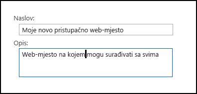 Dijaloški okvir za naslov novog web-mjesta sustava SharePoint Online