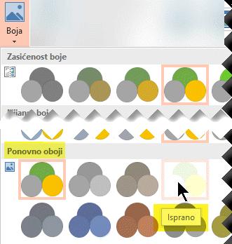 Na kartici Alati za oblikovanje slike na vrpci alatne trake odaberite Boja. U odjeljku Ponovno oboji odaberite Isprano