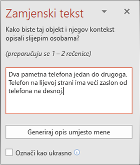 Okno zamjenski tekst u programu PowerPoint za Windows