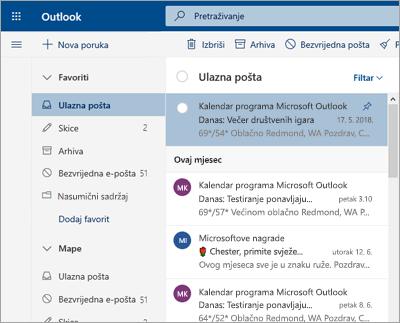 Snimka zaslona ulazne pošte ako je Fokusirana ulazna pošta isključena