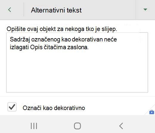 Dijaloški okvir zamjenski tekst za dekorativnu grafiku u programu Excel za Android
