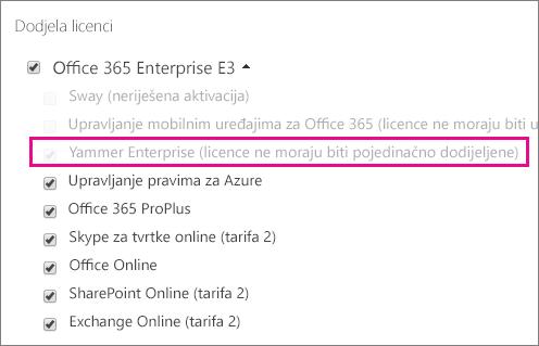 Snimka zaslona s odjeljkom Dodjela licenci centra za administratore sustava Office 365 s odabranom licencom za Yammer Enterprise.