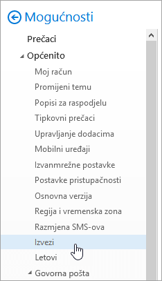 Snimka zaslona izbornika mogućnosti s izvoz odabrana