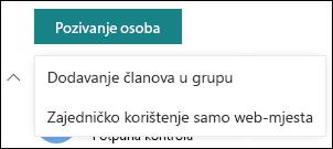Pozivanje osoba na web-mjesto sustava SharePoint