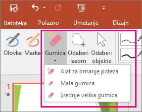 Prikazuje gumb Brisalo u odjeljku Rukopisni alati u sustavu Office