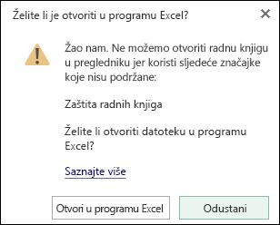 Dijaloški okvir prilikom otvaranja radne knjige lozinkom u programu Excel Online