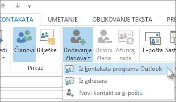 Dodavanje novih članova iz kontakata programa Outlook