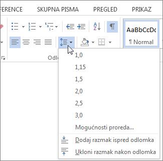 Snimka zaslona s ikonom programa Word na kojoj se prikazuje izbornik prored i razmak između odlomaka.