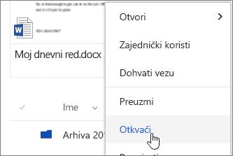 Stavka izbornika Upnpin na istaknuta Kontekstni izbornik