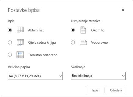 Postavke mogućnosti ispisa nakon klika na Datoteka > Ispis