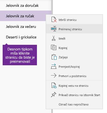 Snimka zaslona s prikazom preimenovane stranice u programu OneNote