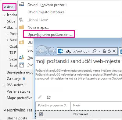 Upravljanje poštanskim sandučićem web-mjesta