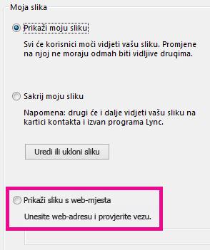 Snimka zaslona odjeljka s mogućnostima za sliku u programu Lync i istaknutom mogućnošću za odabir slike s web-mjesta