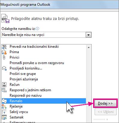 Odabir ikone Ravnalo koja će se dodati na alatnu traku za brzi pristup