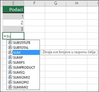 Samodovršetak formule u programu Excel