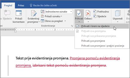 Office 365 – Word – evidentiranje promjena
