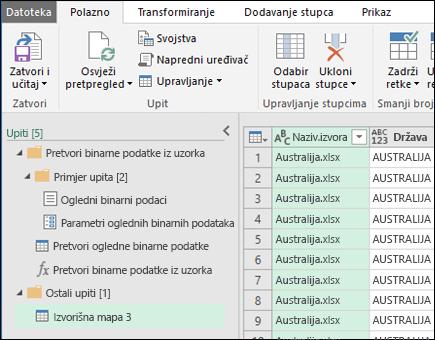 Kombiniranje dijaloški okvir pretpregled binarne datoteke. Pritisnite Zatvori i Učitaj da biste prihvatili rezultate i uvezite ih u programu Excel.