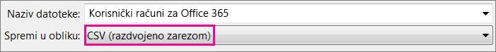 Slika spremanja datoteke u obliku CSV u programu Excel