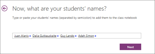 Upišite imena učenika, a zatim odaberite Dalje.