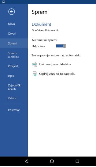 Snimka zaslona mogućnosti Automatsko spremanje na telefonu sa sustavom Android