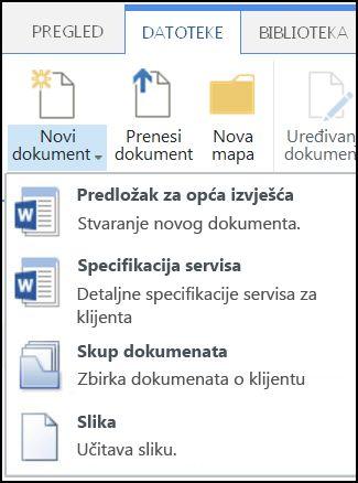 Novi dokument s prilagođenim vrstama sadržaja u sustavu SharePoint