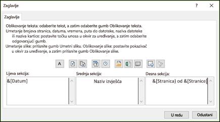 Dijaloški okvir Prilagođeno zaglavlja kartice Postavljanje stranice