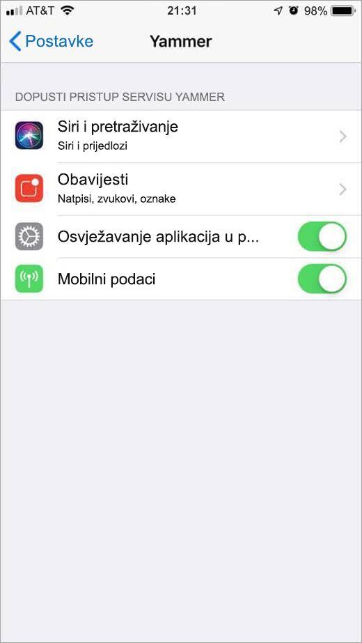 izbornik Postavke servisa Yammer za iOS