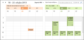 usporedni prikaz uvezenog Google kalendara u programu Outlook