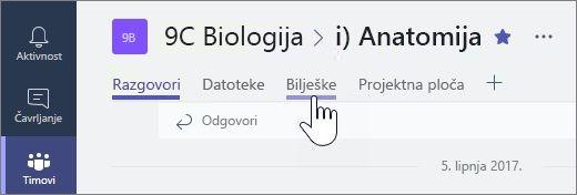 Bilježnice za predmete u programu Microsoft timovima za suradnju