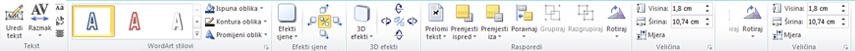 Kartica Alati za WordArt u programu Publisher 2010